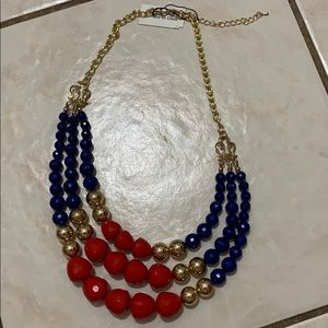 Blue/red/gold statement necklace